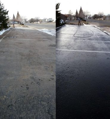 steamworks power washing a commercial lot